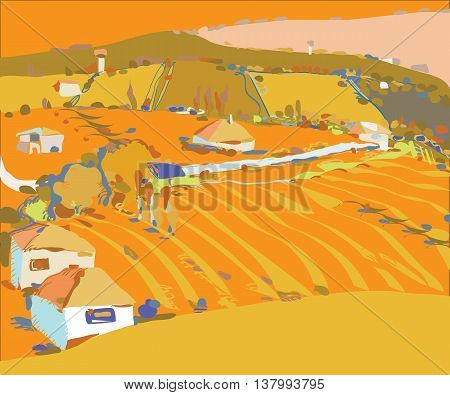 Illustration of an autumn cultivated landscape with fields, houses and trees