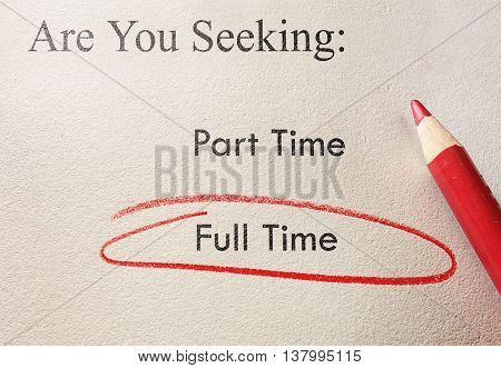 Job application with Full Time circled in red