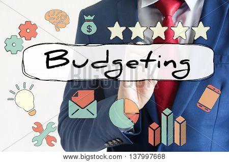 Budgeting Drawn On Virtual Board By Businessman