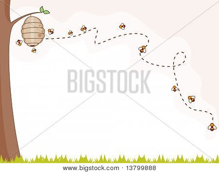 Illustration of a Group of Bees Flying Around a Beehive for Background