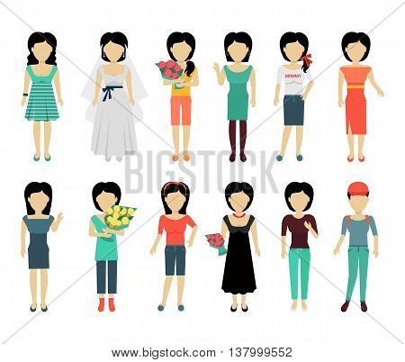 Set of female characters without face in variety cloth vector. Flat design. Woman template personages illustration for woman concepts, fashion app, logos, infographic. Isolated on white background.