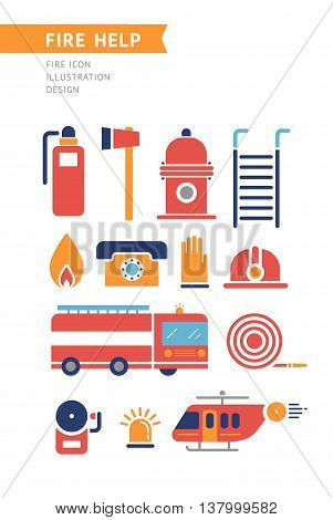 Fire help service icons set. Flat style design. Collection of equipment and tools for firefighters team. Fire helicopter, car, ax extinguisher, helmet, hose, ladder, illustrations. On white.