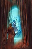 man in red gown looking at underwater world through window, illustration painting poster