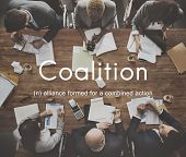 Coalition Association Alliance Corporate Union Concept poster