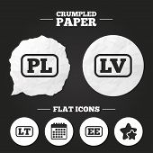 Crumpled paper speech bubble. Language icons. PL, LV, LT and EE translation symbols. Poland, Latvia, Lithuania and Estonia languages. Paper button. Vector poster