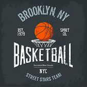 Streetball or urban sport team badge or sign, logo or banner of orange ball above basket with net. Varsity design for street sportswear or sport gear logotype on t-shirt poster
