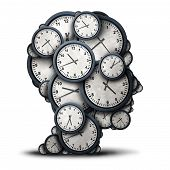 Thinking time concept as a group of clock objects shaped as a human head as a business punctuality and appointment stress metaphor or deadline pressure and overtime icon as a 3D illustration. poster