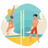 Young man and woman playing volleyball on the beach, cartoon vector illustration. Friends playing beach volleyball. Recreational summer activity, healthy lifestyle poster