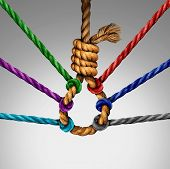 Suicide prevention support and group intervention symbol as a rope shaped in a suicidal noose with a group of diverse ropes preventing the danger by pulling the knot open as a mental health symbol for helping vulnerable patients. poster