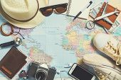 Overhead view of Traveler's accessories Essential items of traveler Travel concept background poster