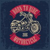 Motorcycle. Side view. Classic chopper bike in engraving style. Vector illustration isolated on white background. For web poster t-shirt tattoo biker club. Isolated on dark blue vintage background poster