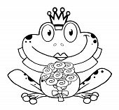 Outline Of Happy Bride Frog Cartoon Character poster