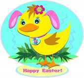 Here is a cute Easter Duck wearing her Bunny Ears and Easter Egg necklace. poster