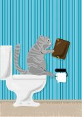 Vector illustration of cat reading book over toilet poster