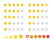 Stars icons and smilies ranking scales set vector illustration. Good for ad, poster, banner, web design. poster