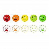 Feedback emoticons vector icons, concept of satisfaction rating emoji, level of rank, customer feedback emotions, review smileys isolated on white background poster