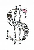 Dollar money with auto parts for car. Auto parts for car. Auto parts for shop, aftermarket OEM. Dollar with auto parts. Many auto spare parts isolated in money dollar poster
