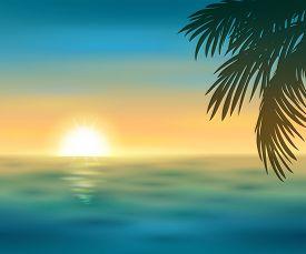Vector illustration of a beautiful sunset on the sea