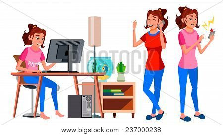 Freelancer Worker Vector. Woman Working At Home. Professional Officer, Clerk. Lady Face Emotions, Va
