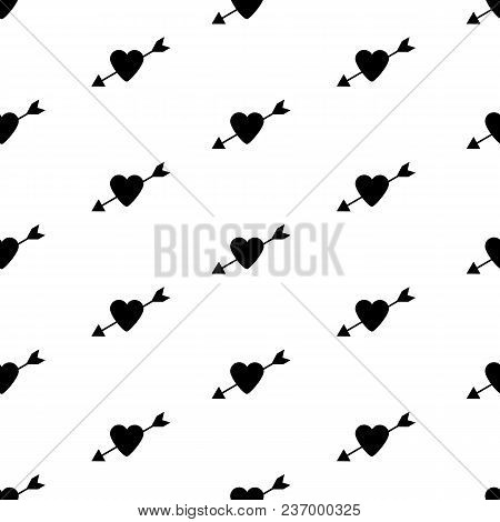 Seamless Pattern With The Black Hearts And Arrows. Vector Illustration