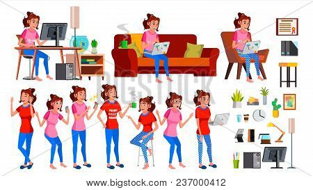 Freelancer Worker Vector. Woman. Successful Officer, Clerk, Servant. Adult Woman. Working At Home. F