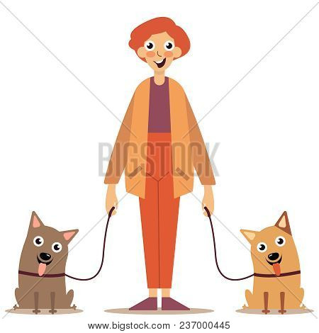 Walk With Animals. A Young Guy Was Walking His Dogs. A Variety Dogs. Dogs On Leash From The Owner. I