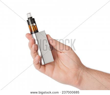 Hand with vape device for smoking isolated on white background