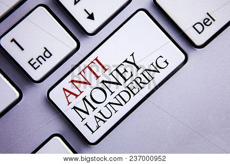Word Writing Text Anti Monay Laundring. Business Concept For Entering Projects To Get Away Dirty Mon