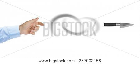 Hand is throwing a knife isolated on white background