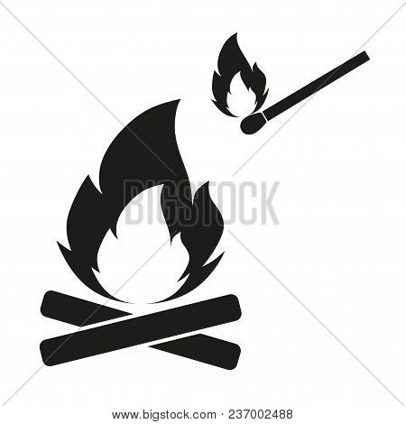 Illustration Of A Burning Match Lights A Bonfire On A White Background