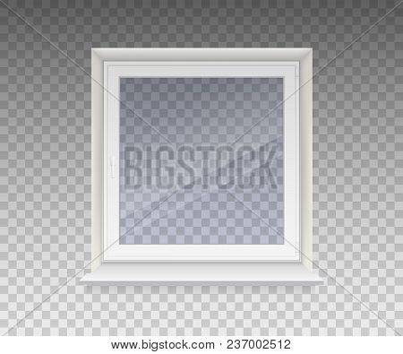 Closed Window With Transparent Glass In A White Frame. Isolated On A Transparent Background. Vector.