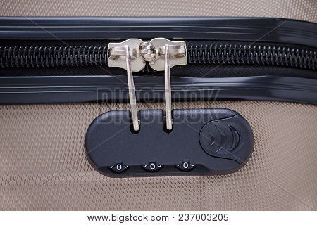 Closeup Of Suitcase With Combination Lock And Zero Numbers, Closed