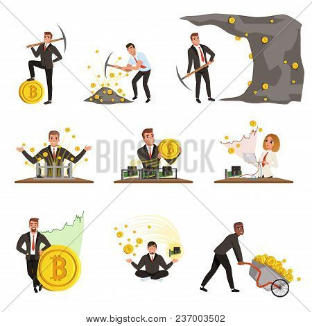 Set Of Business People Extracting Cryptocurrency, Golden Bitcoins. Mining Farm. Virtual Money And Fi