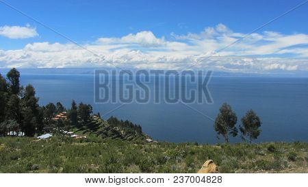 Sunny Day On Isla Del Sol On Lake Titicaca, The Highest Altitude Lake In The World (3808m). April 27