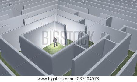 Business man in maze. 3D rendering