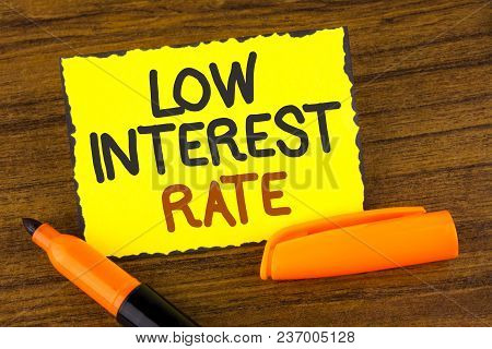 Conceptual Hand Writing Showing Low Interest Rate. Business Photo Showcasing Manage Money Wisely Pay