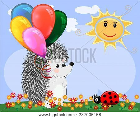 Lovely Cartoon Hedgehog In A Clear, Sunny Cheer, A Summer Day