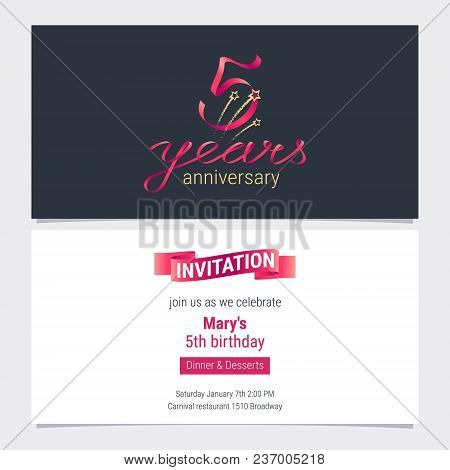 5 Years Anniversary Invite Vector Illustration. Graphic Design Element For 5th Birthday Card, Party