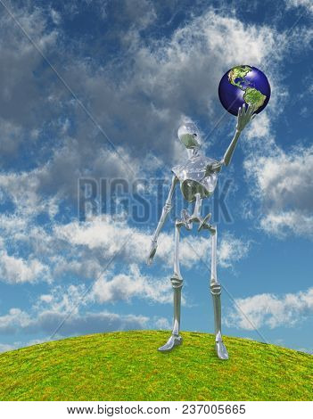 Shiny Silver Robot Stands on Hilltop Arm Outstretched Holding Earth Model. 3D rendering
