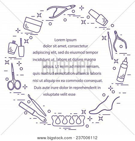 Silhouette Of Manicure And Pedicure Tools And Products For Beauty And Care. Design Element For Postc