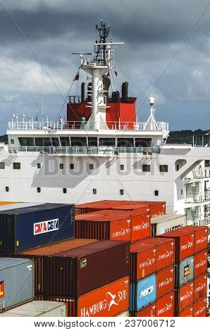 Panama City, Panama - February 20, 2015: Ship Control Bridge Of A Cargo Ship Carrying Containers