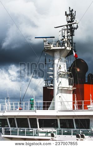 Modern Passenger Ferry Ship. Captains Bridge Exterior Over Clear Blue Sky