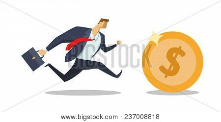 Businessman In Office Suit Running After Big Dollar Coin. Race For Success. Hurry Up. Making Money.