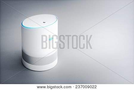 Home Intelligent Voice Activated Assistant. 3d Rendering Concept Of Hi Tech Futuristic Artificial In