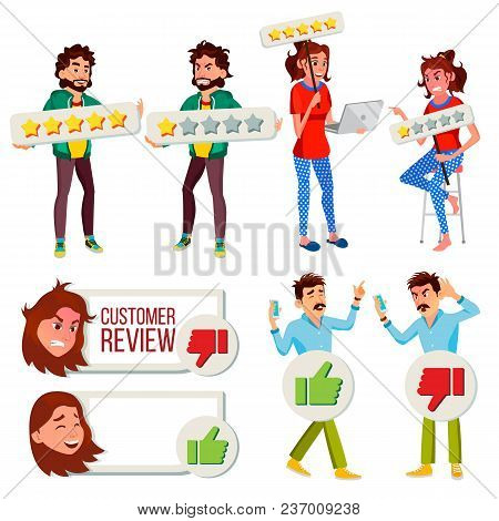 Customer Review Set Vector. Business Positive, Negative Client Review. Store Quality Work. Man, Woma