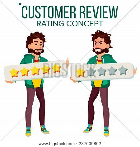 Customer Review Vector. Happy And Unhappy Man. Good And Bad Customer Client Feedback. Shop Quality W