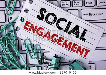 Writing Note Showing  Social Engagement. Business Photo Showcasing Post Gets High Reach Likes Ads Se