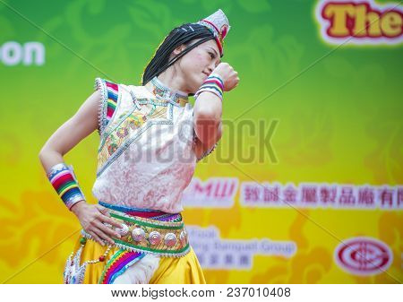 Hong Kong - March 04 : Participant In The 14th Tai Kok Tsui Temple Fair In Hong Kong On March 04 201