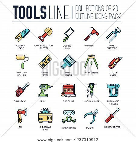 Collection Of Working Tools Icons Items Design. Construction Instruments With Any Elements Set. Diy,