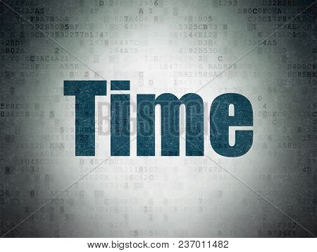 Time Concept: Painted Blue Word Time On Digital Data Paper Background